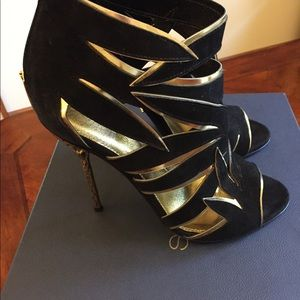 Sergio Rossi Black & Gold Palm stiletto sandals